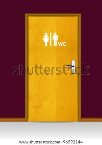 Sign of public toilets WC on wooden door - stock photo