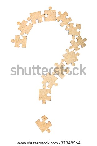 Sign of question from puzzle. Isolated on white background - stock photo