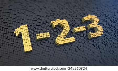 Sign '1-2-3' of the yellow square pixels on a black matrix background. Very very easy way - stock photo