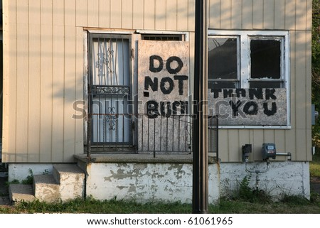 Sign of urban decay - stock photo
