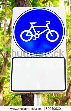 Sign of way for bicycle and old people. - stock photo