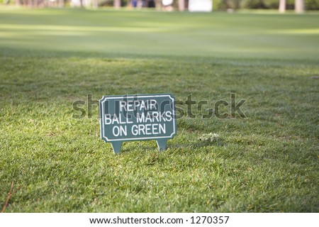 Sign on golf course