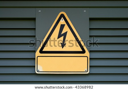 Sign on high electric voltage