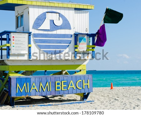 Sign on th famous Miami Beach in Florida USA - stock photo