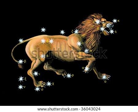 Sign on zodiac constellation Lion (Leo)
