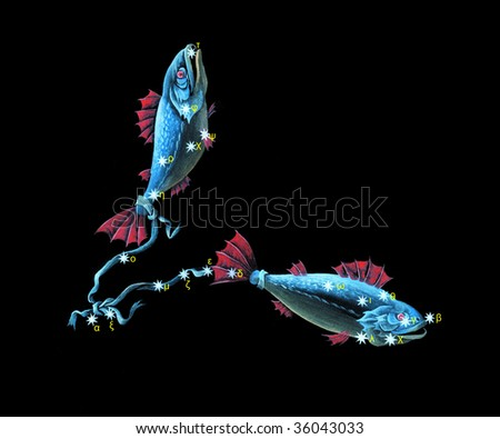 Sign on zodiac constellation The Fishes (Pisces) - stock photo
