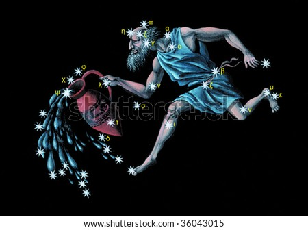 Sign on zodiac constellation The Water Bearer (Aquarius) - stock photo