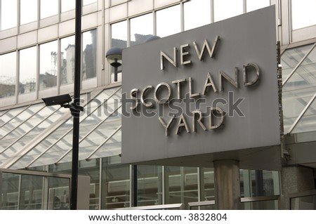 Sign outside New Scotland Yard the headquaters of the Metropolitan police based in London UK - stock photo