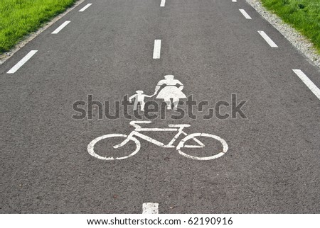 Sign painted on the road to allow only pedestrians and bicycles. - stock photo