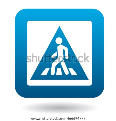 Sign pedestrian crossing icon in simple style in blue square. Rules of the road symbol