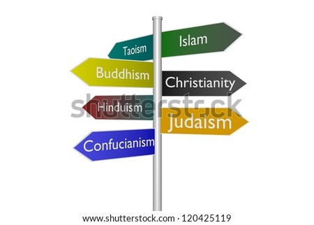 Sign Post Choices Various World Religions Stock Photo - Various religions in the world