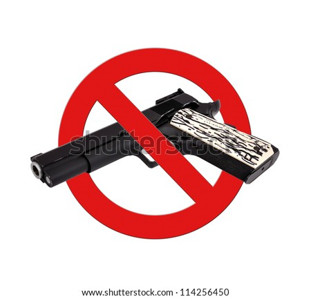 sign prohibiting gun on a white background - stock photo