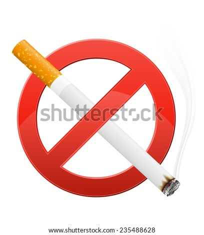 sign prohibiting smoking illustration isolated on white background - stock photo