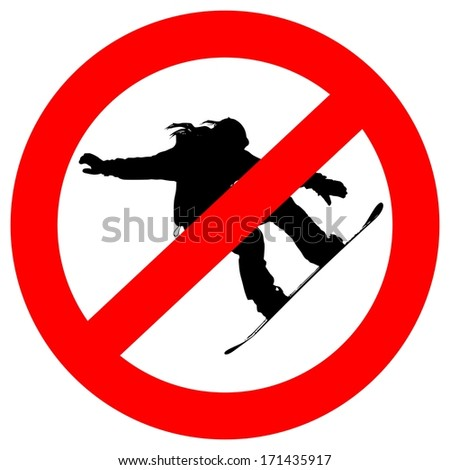 sign prohibiting snowboarding, red color