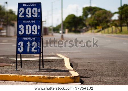 Sign showing gas prices.