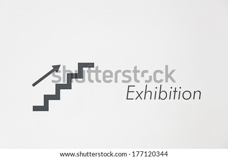 Sign stairs and display detail information of a sign for an exhibition in a museum - stock photo
