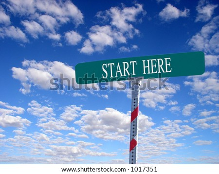 "sign that reads ""Start Here"""