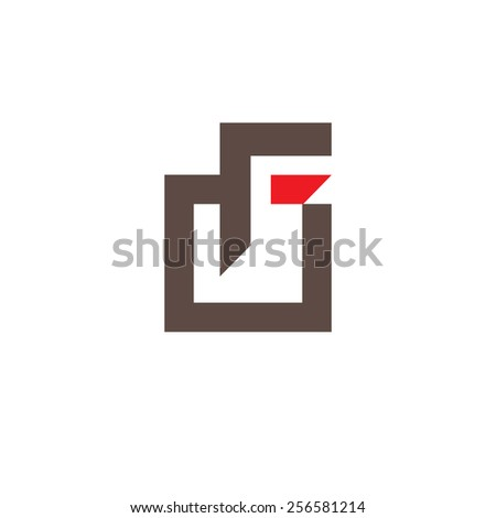 Sign the letter F Branding Identity Corporate logo design template Isolated on a white background - stock photo