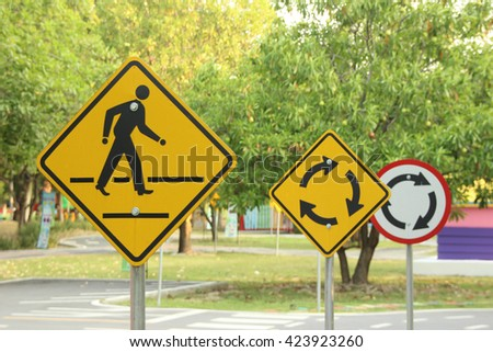 Sign traffice on roads for practice drive car, - stock photo