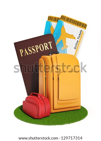 Sign trip. Illustration of a group of suitcases and a plane ticket, summer vacation and travel - stock photo