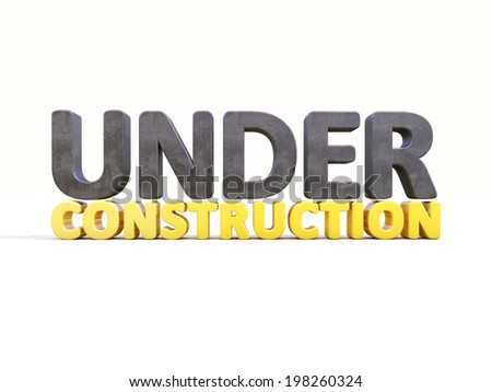 Sign under construction isolated  on white background - stock photo