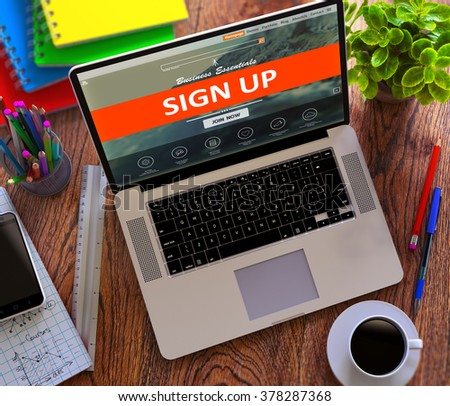 Sign Up on Laptop Screen. Internet Concept. 3D Render. - stock photo