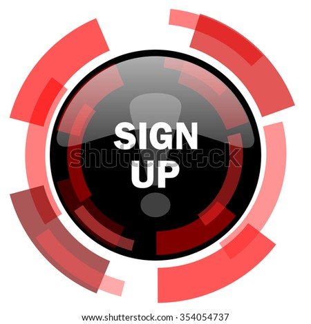 sign up red modern web icon