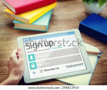 Sign Up Register Online Internet Web Concept - stock photo