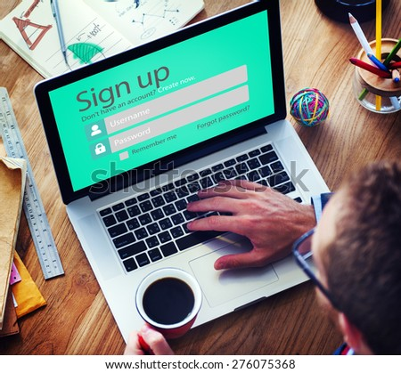 Sign Up Usename Password Log In Protection Concept - stock photo