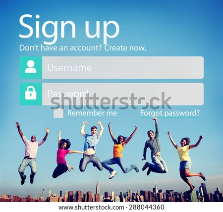 Sign Up Username Password Log In Protection Concept - stock photo