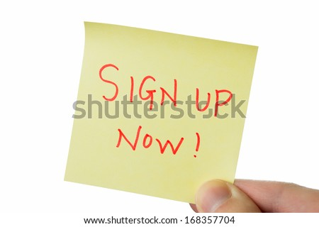 sign up, yellow stick note isolated on white background - stock photo