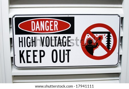 Sign warning of the risk of electrocution