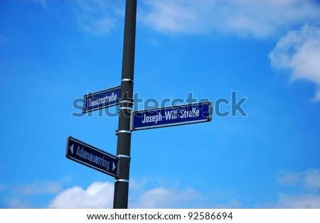 Sign with german streets