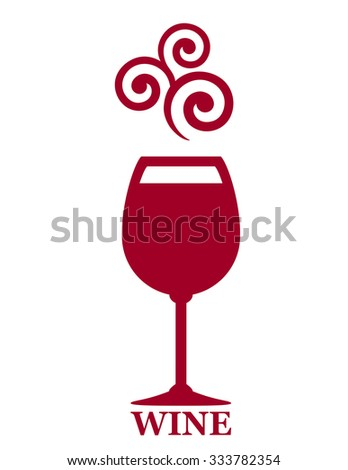 sign with goblet of red wine and grape decorative element - stock photo