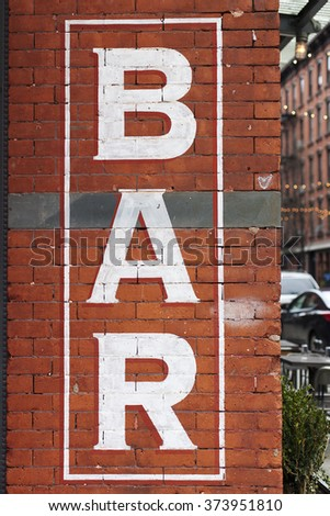 Sign with letters BAR - stock photo