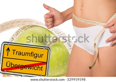 sign with the german words dream figure and overweight and a woman with measure tape / dream figure - stock photo