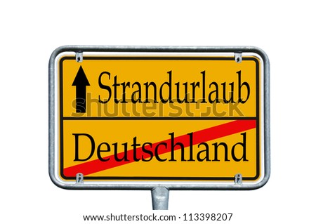 sign with the german words Germany and beach holidays