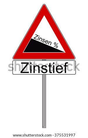 Sign with the german words interest and low interest rates isolated over a white background / low interest rates