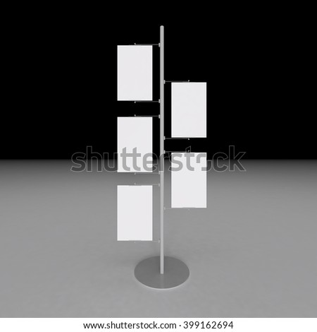 Signage banner on the post, put your own text or image here - stock photo