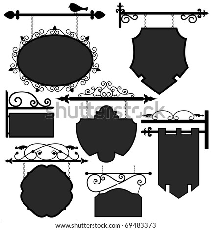 Signage Shop Sign Route Hanging Information Banner Retailer - stock photo