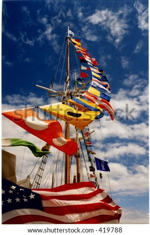Signal flags, tall ship, Door County, Wisconsin - stock photo