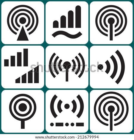 Signal icons set raster version - stock photo