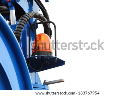 signal lamp for warning, flashing light on construction vehicle machine tractor, industry detail - stock photo