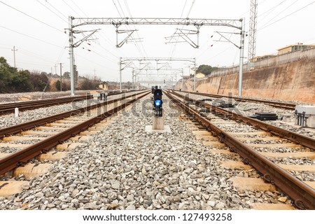 signal light in the railway - stock photo