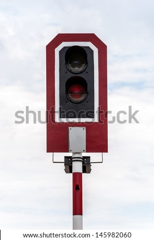 Signal pole in the railway yard of Thai station. - stock photo