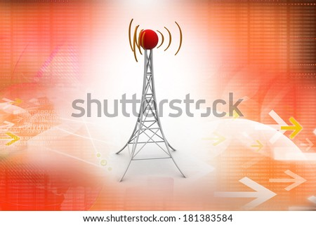 Signal tower with networking - stock photo