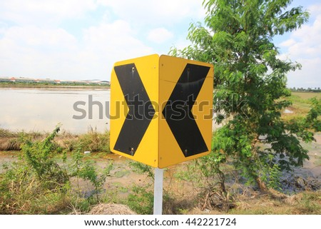 Signal turn right on country road, Traffic Signs, Traffic that is ahead of the curve, Curve signs, traffic signs on the road in thailand. - stock photo