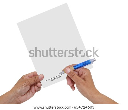 Signature Line hand with pen isolated on white background