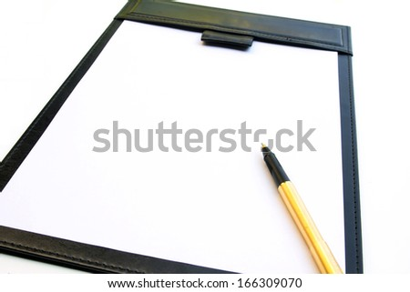 signature pad and gold pen isolated on white background - stock photo