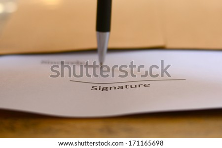 signature with pen - stock photo